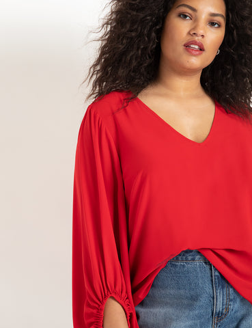 Drama Sleeve Blouse In Pompeian Red