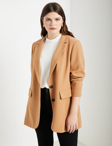 Long Tailored Blazer In Biscuit