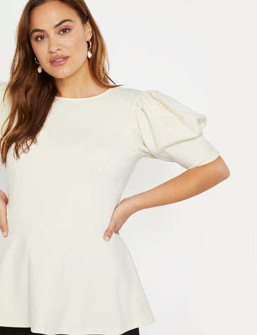 Puff Sleeve Peplum Top in Off White