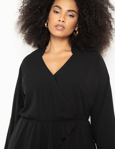 Surplice Faux Wrap Top in Black