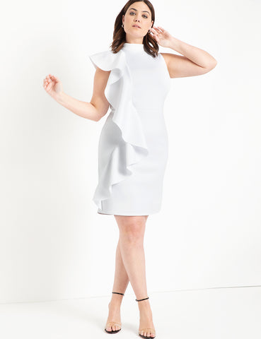 Ruffle Detail Mock Neck Dress in True White