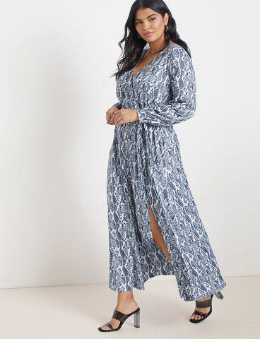 Wrap Maxi Dress In Snake Skin