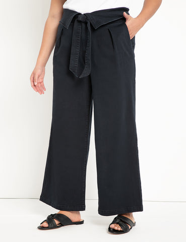 Wide Leg Jean with Foldover Waist in Blue/Black Wash