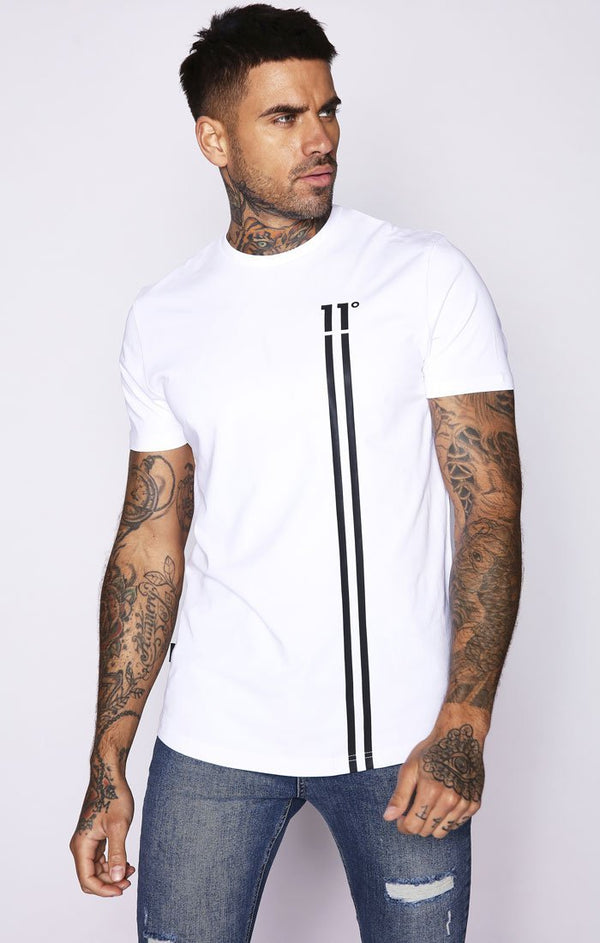 Camiseta 11 Degrees Blanca Stripe Logo - D10 Store