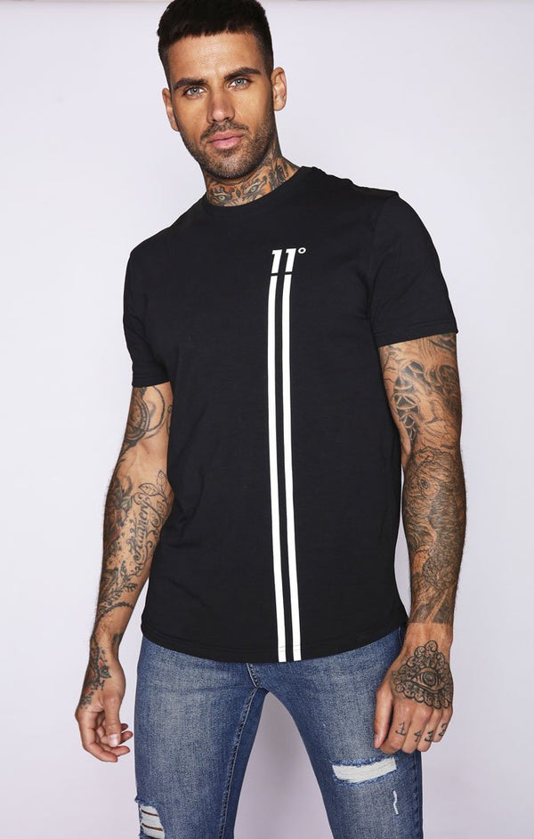 Camiseta 11 Degrees Negra Stripe Logo - D10 Store