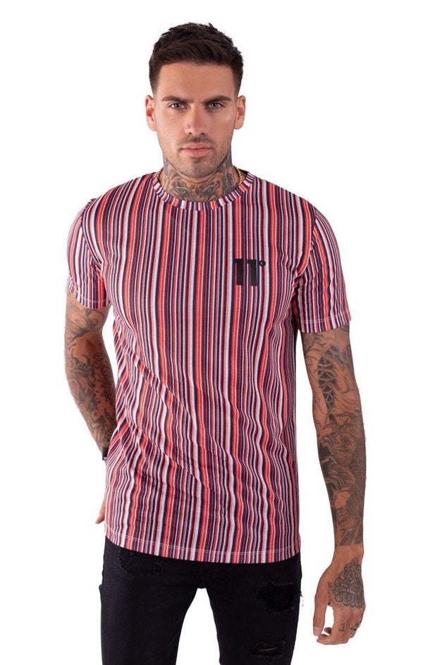 Camiseta 11 Degrees Roja Stripe - D10 Store