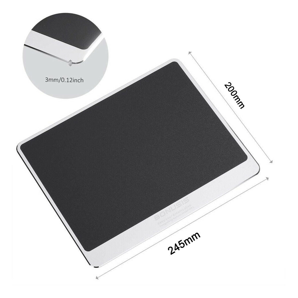 Aluminium 245mm x 200mm x 3mm Mouse Mat Resin NonSlip Rubber Slim Mouse Mice Pad