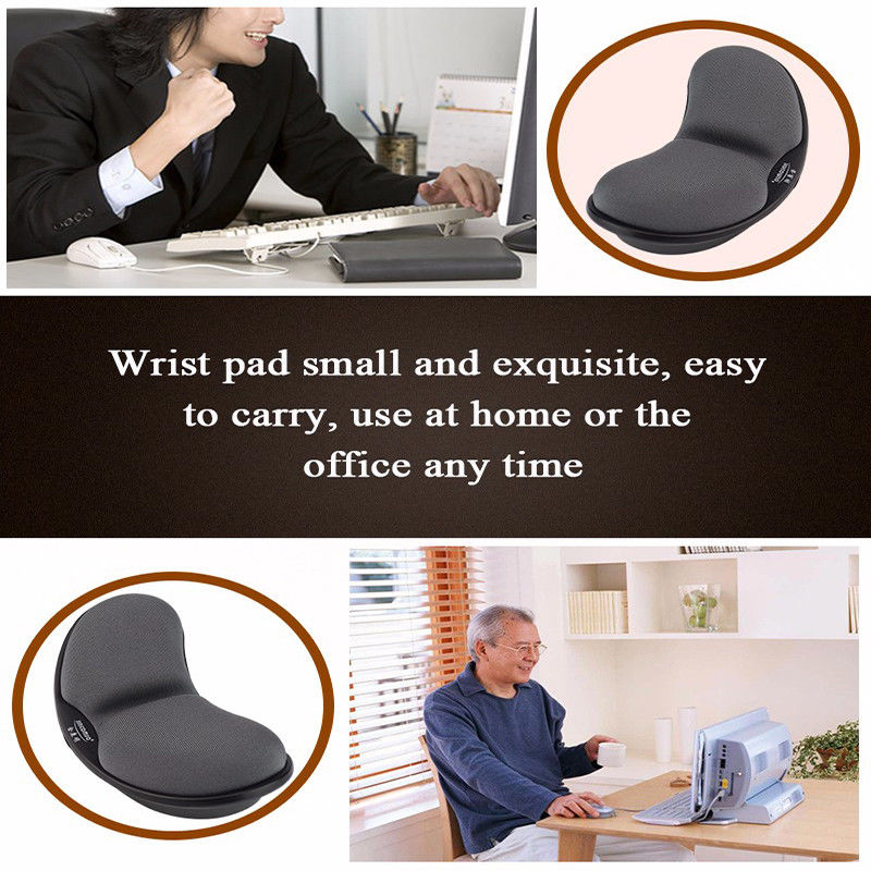 Black - Ergonomic Office Memory Foam Mouse Pad Anti-skid Mousepad Support Wrist Rest Mat