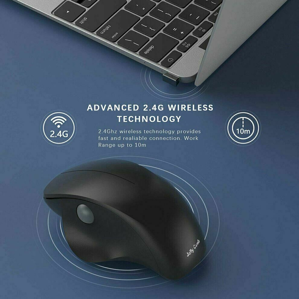 Wireless Mouse 2.4GHz Ergonomic Design Vertical Mouse 1600DPI USB Silent Mice