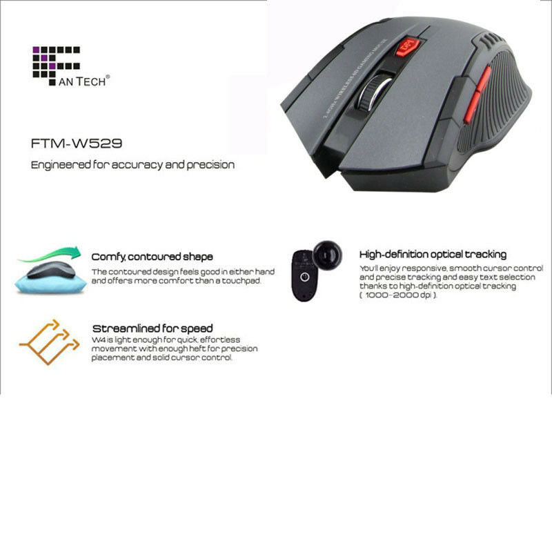 Gray Mini 2.4Ghz Portable Wireless Optical Adjustable DPI Mouse Gaming PC laptop