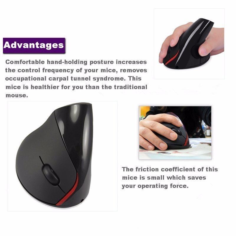 Gray - Ergonomic Joy Comfort Wrist Pain Wireless Vertical Office Mouse Mice