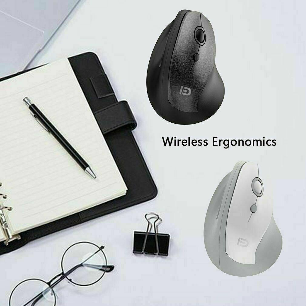 Ergonomic Design Optical Vertical USB Wrist Pain Healing Wireless Mouse (White)