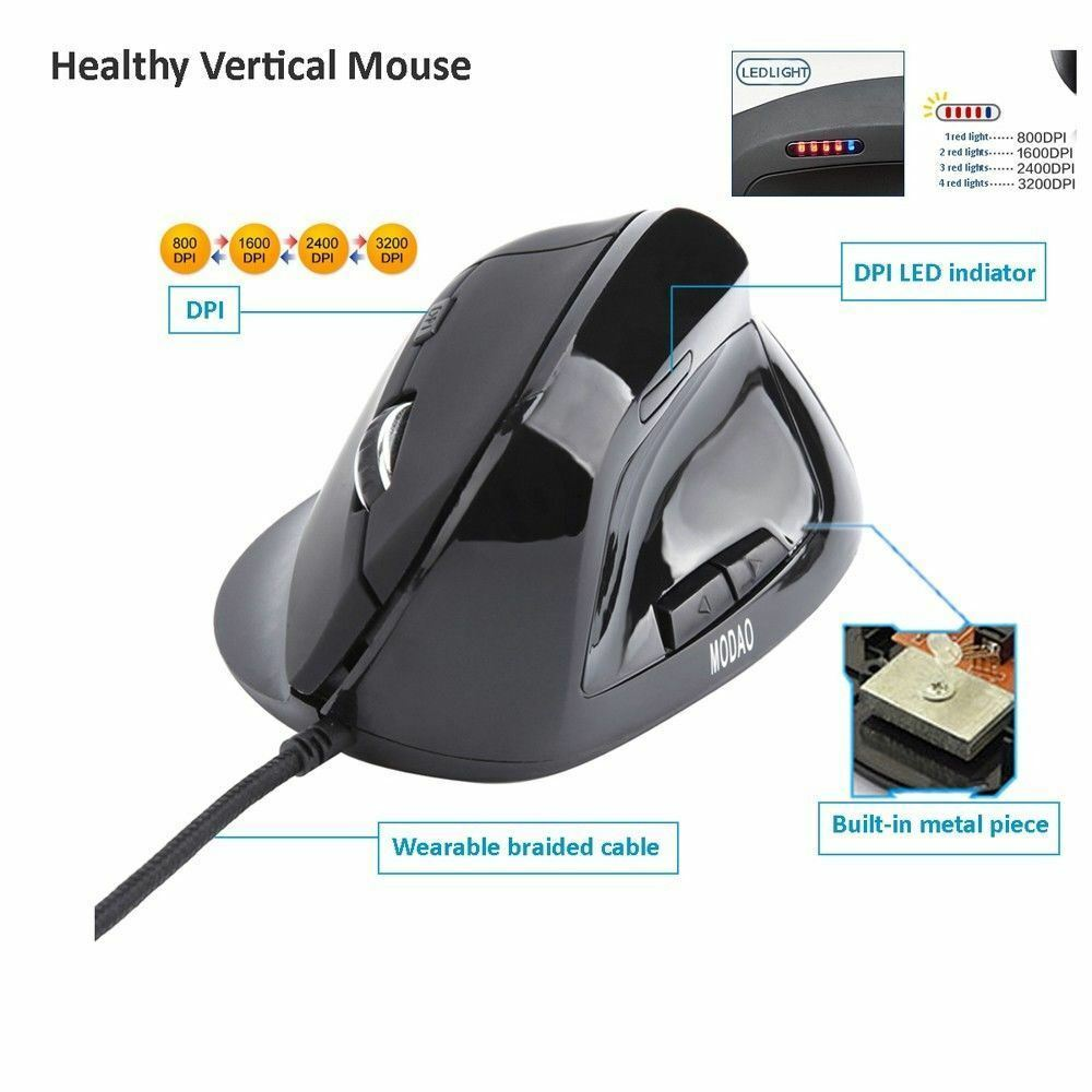 6 Buttons Wired Ergonomic Vertical Optical Healthy Mouse Mice DPI LED Indicator