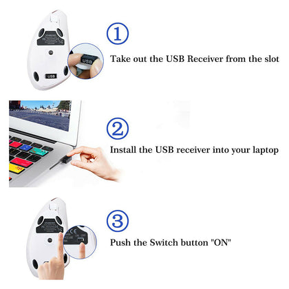 White 2.4G Wireless Ergonomic Design Vertical Optical Computer PC Mouse Mice