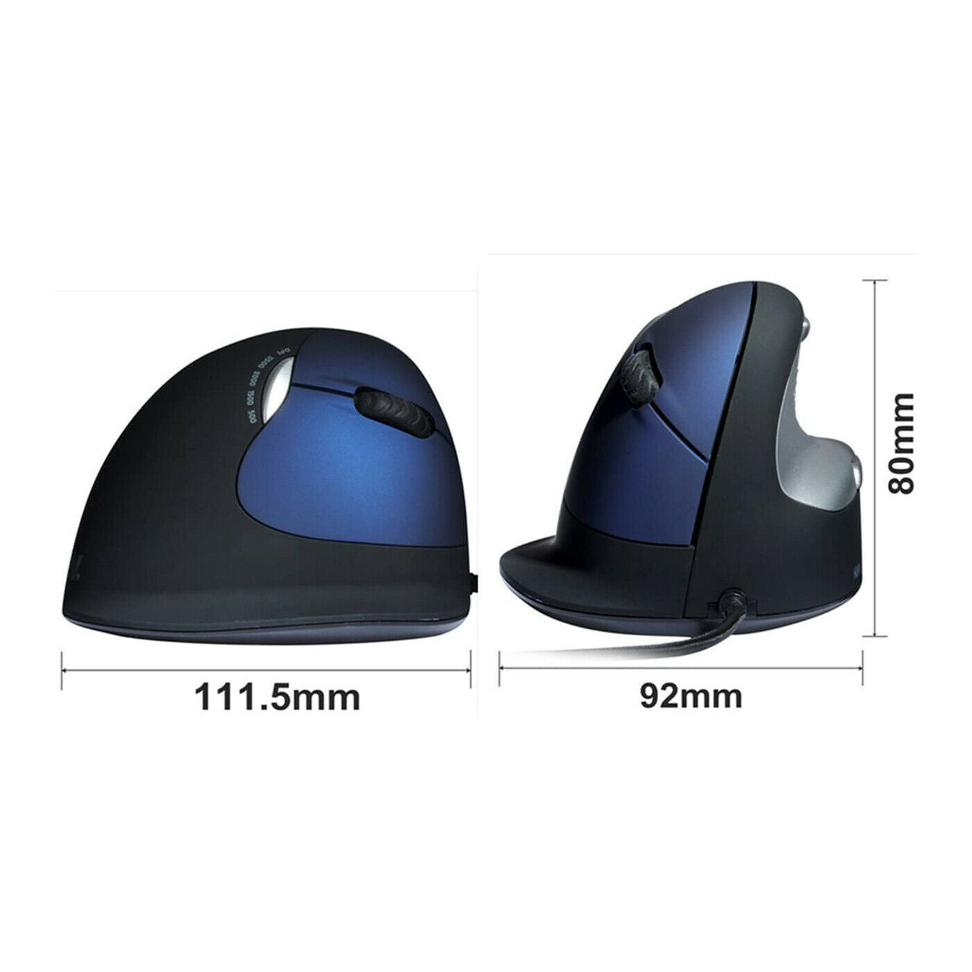 Black Large Human Ergonomic Design USB Wired Vertical Mouse with 500-2400DPI