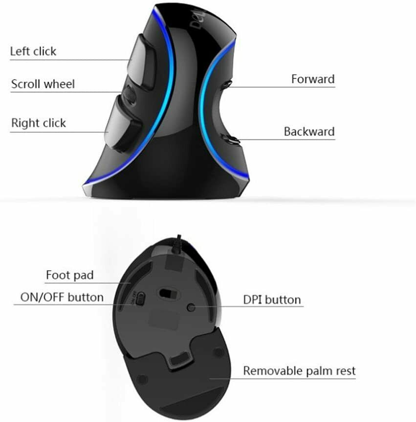 Delux Wired Ergonomic Vertical Optical LED Blue Light 1600DPI 6Button Mouse Mice