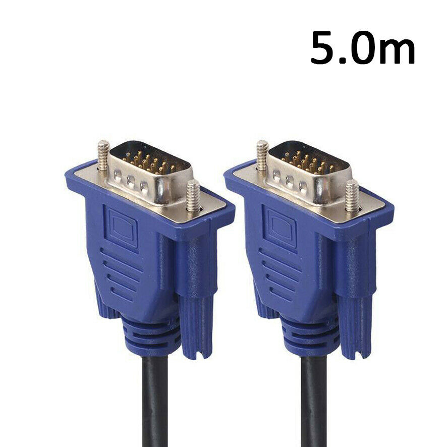 5M VGA SVGA 15pin Male to Male Extension PC Monitor LCD TV Cable AU