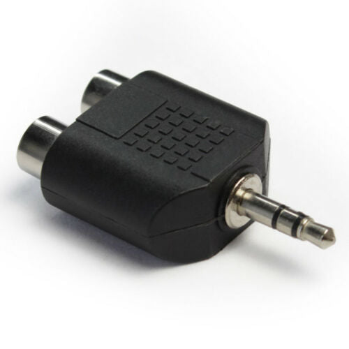 2 RCA Female Socket To 3.5mm Male Mini Jack Plug Stereo Audio Sound Adapter