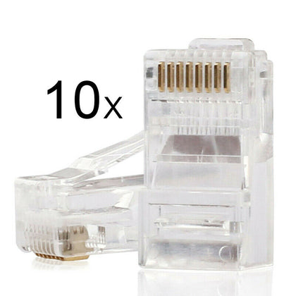 10 x RJ45 8P8C Cat6 5 5e Cable Modular Connector Plugs for Ethernet Network LAN