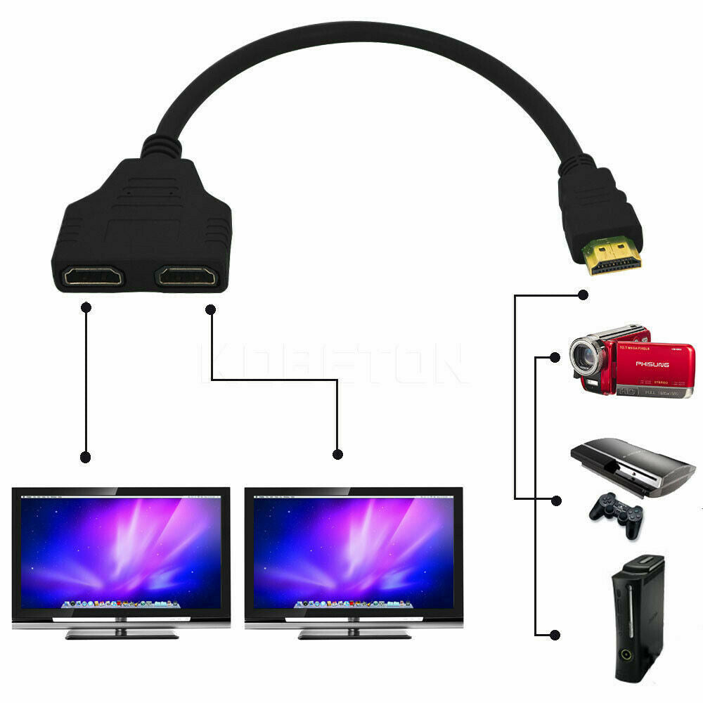 HDMI Splitter Cable 1 Male To Dual HDMI 2 Female Y Splitter Adapter Converter