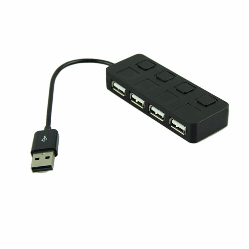 Premium 4 Ports USB 2.0 High Speed Mini Hub with Individual Power Switches LED