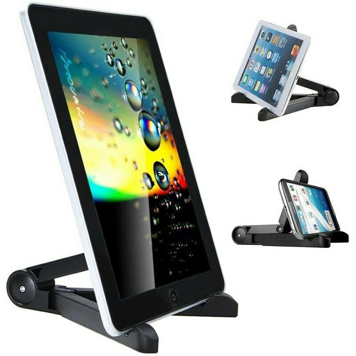 Folding Adjustable Bracket Stand Holder for iPad iPhone Android Tablet (Black)