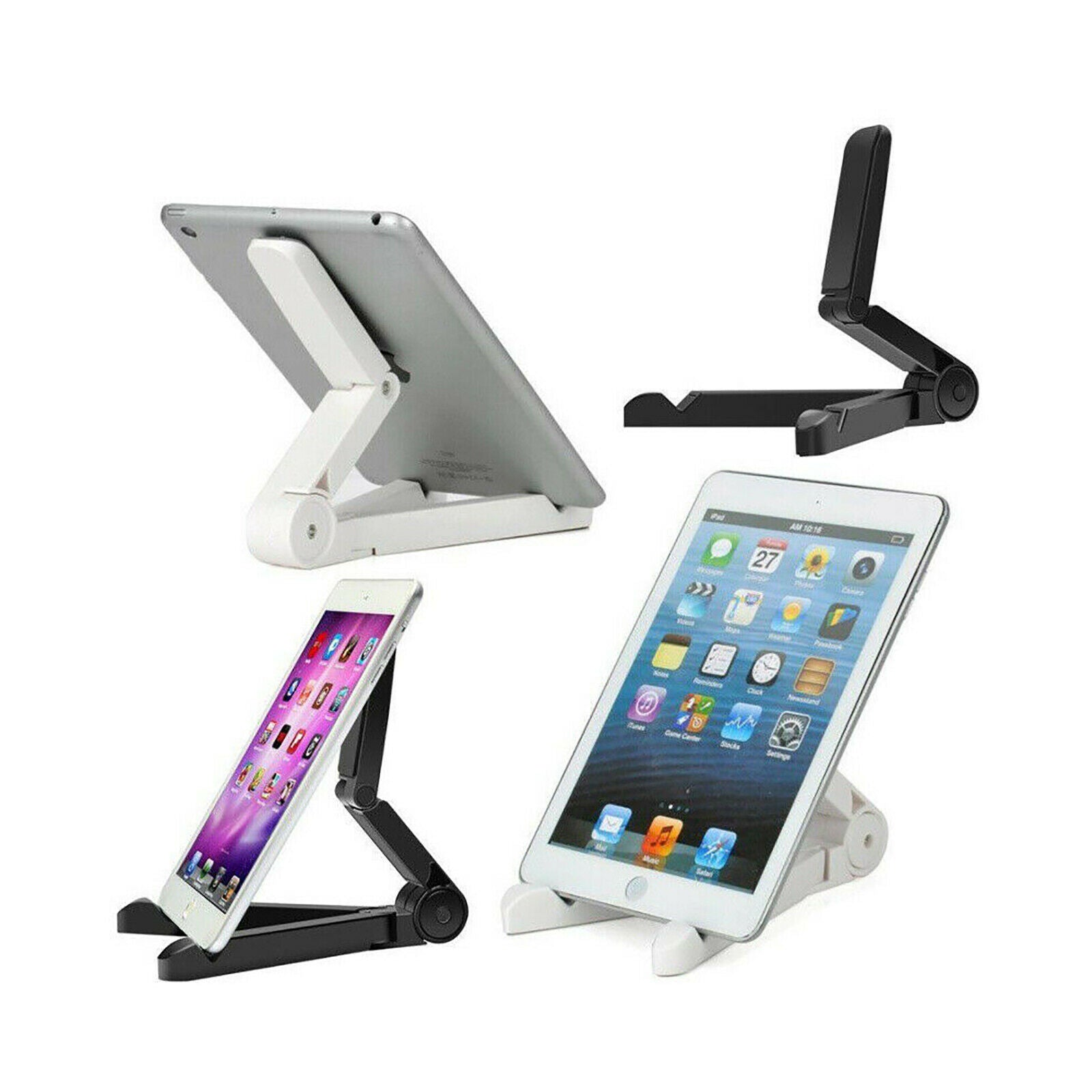Folding Adjustable Bracket Stand Holder for iPad iPhone Android Tablet - White