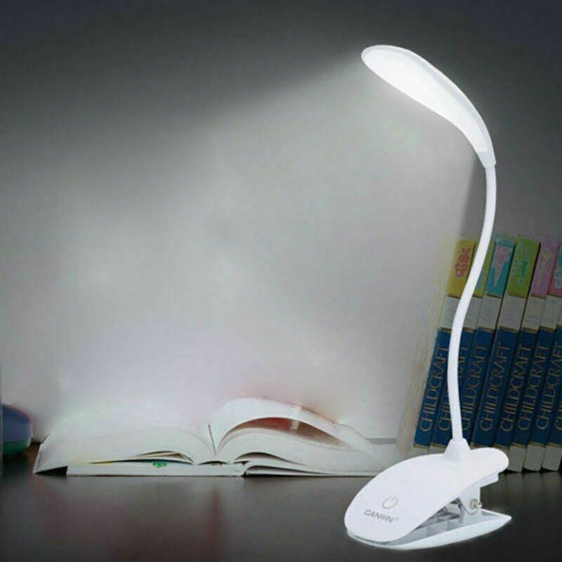 Adjustable USB Rechargeable Touch Sensor LED Desk Lamp Clip Table Reading Light
