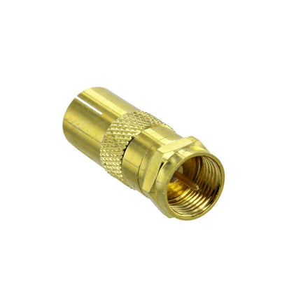 F-Type Male to PAL Female TV Aerial Antenna Flylead Adaptor Plug - Gold Plated
