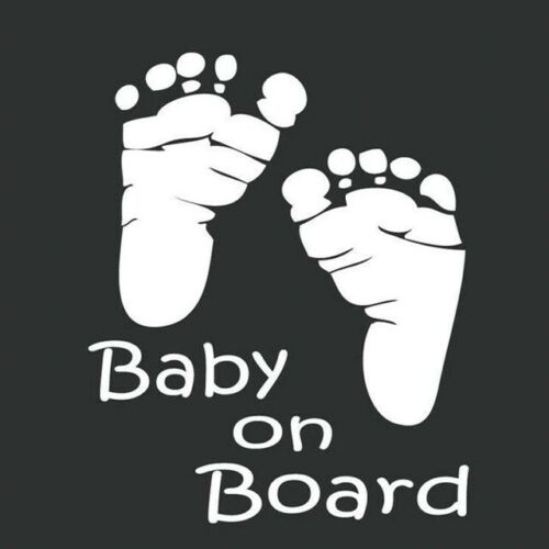 Silver Baby On Board Cute Foot Prints Sign Feet Window Car Sticker Vinyl Decal