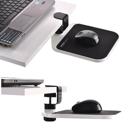 Adjustable Platform Under Desk Clamp Shelf Ergonomic Wrist Rest Mouse Pad - White
