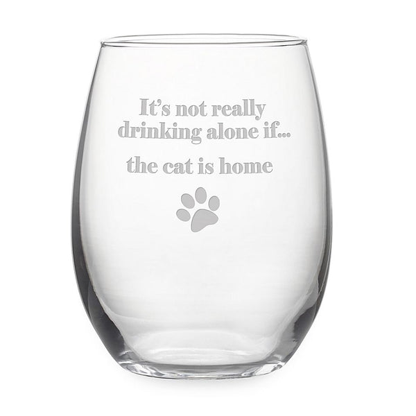 Cat Is Home - stemless wine glass