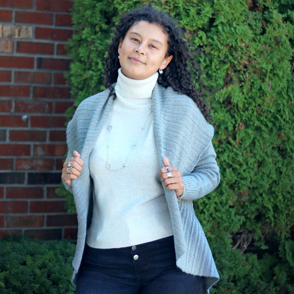 Pleated Shawl Cardigan Mint