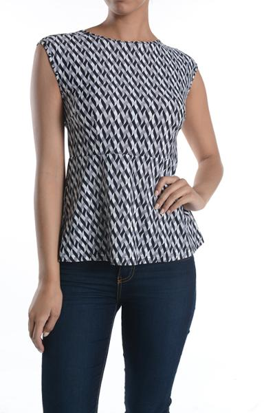 Selena Black/Grey Peplum Top