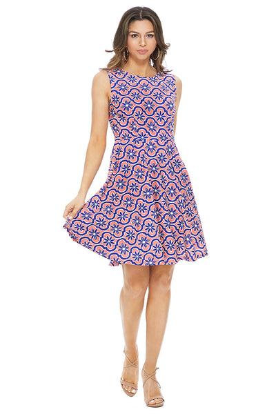 Jordyn Fit & Flare Dress Blue Salmon