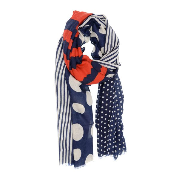 Red, White, Navy Dots & Stripes Scarf
