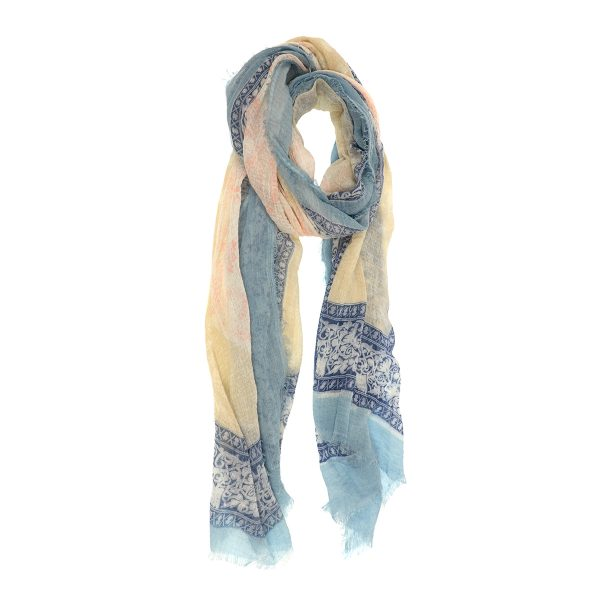 Paisley Boarder Scarf - Light Blue
