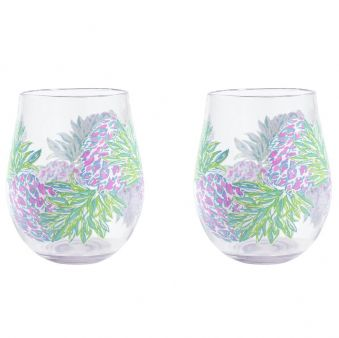 Lilly Pulitzer Wine Glass Set Swizzle In