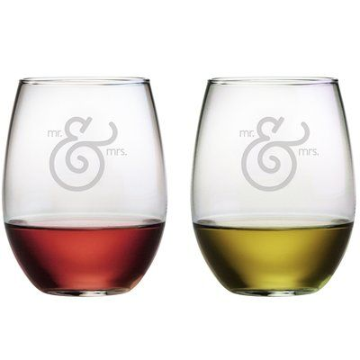 Mr & Mrs Set - stemless wine glass