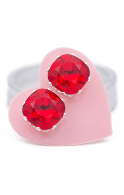 JoJo Cushion Cut Earrings Cherry