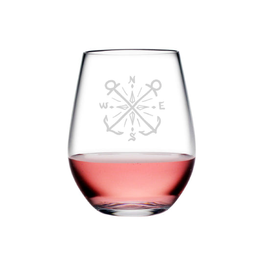 Crossed Anchors - stemless wine glass