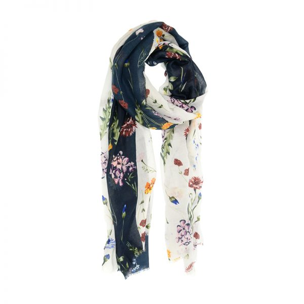 Scattered Bouquet Scarf - White & Navy