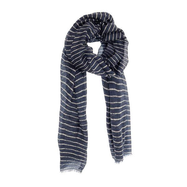 Dark Chambray Broken Stripe Scarf