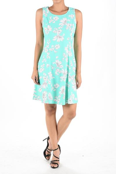 Joyce Fit & Flare Dress Mint Floral