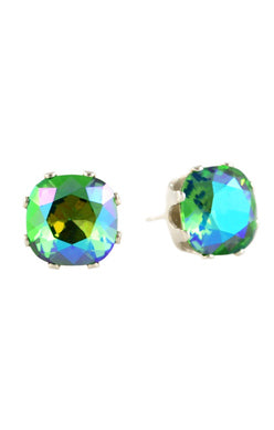 Jojo Cushion Cut Bling Earrings Mardi Gras