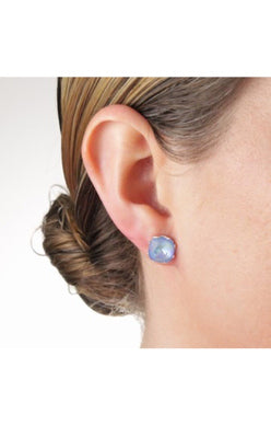 JoJo Cushion Cut Earrings Neon Blue