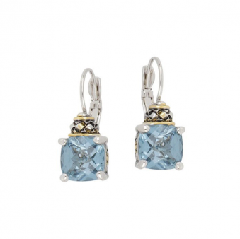 John Medeiros Square Cut Earrings Aqua