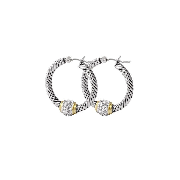 John Medeiros Antiqua Pave Twisted  Hoop Earrings