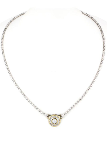 John Medeiros Pave & Seashell Pearl Necklace