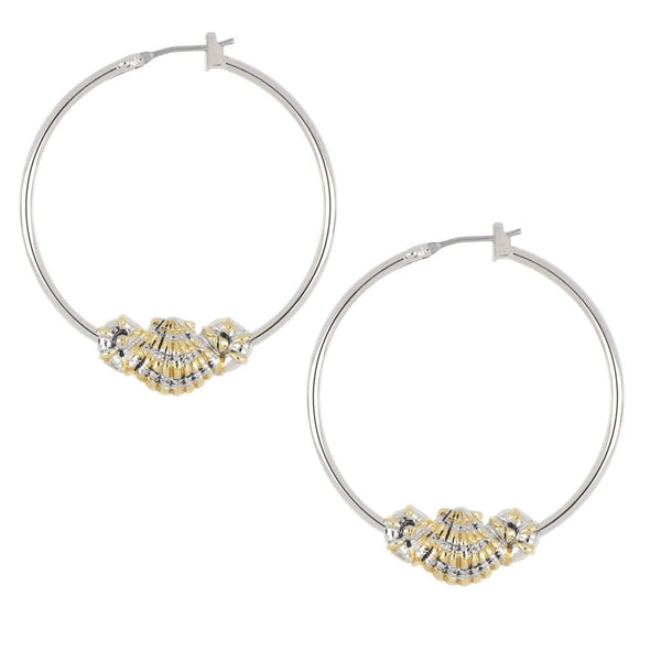 John Medeiros Two Tone Shell Hoop Earrings